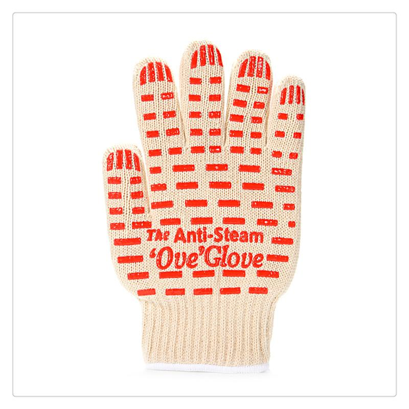 Heat Oven Gloves Resistant Anti Steam Oven Glove with Non-slip Red Silicone Grip for Cooking Baking Grilling Free Size Bakeware Mitts