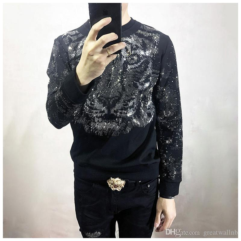 Freeship mens strass perles tigre sweat-shirts noirs manches longues / T-shirt bling style mode / spectacle