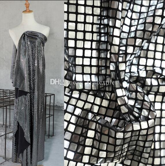 Two style Elastic metal cube complex lattice coated textiles fabric sequins laser lace wedding gauze party tweed mannequin fabric A422