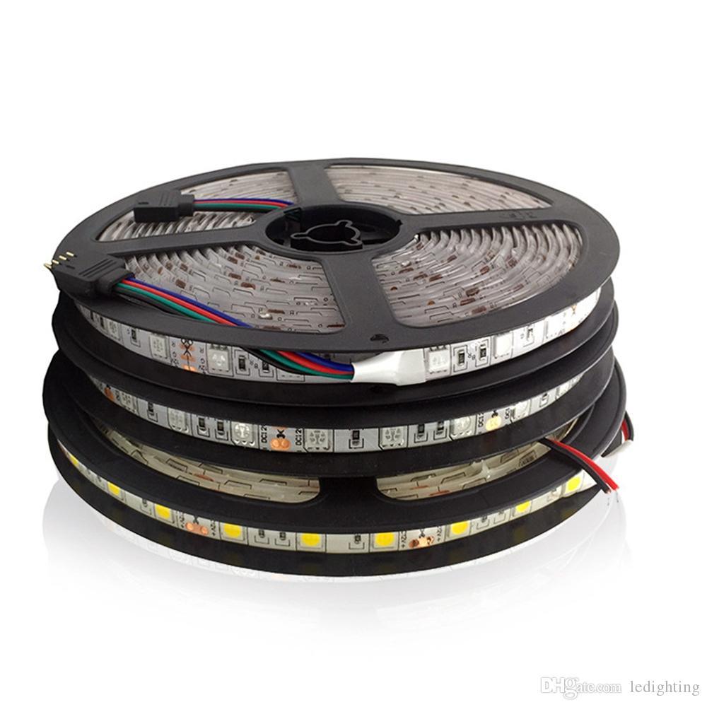 BSOD LEDフレキシブルストリップ5050 12V 24Vの非防水防水ホワイトウォームレッドブルーグリーンUVピンクRGB RGBWライトDIYベッドルーム3Mステッカーテープライト