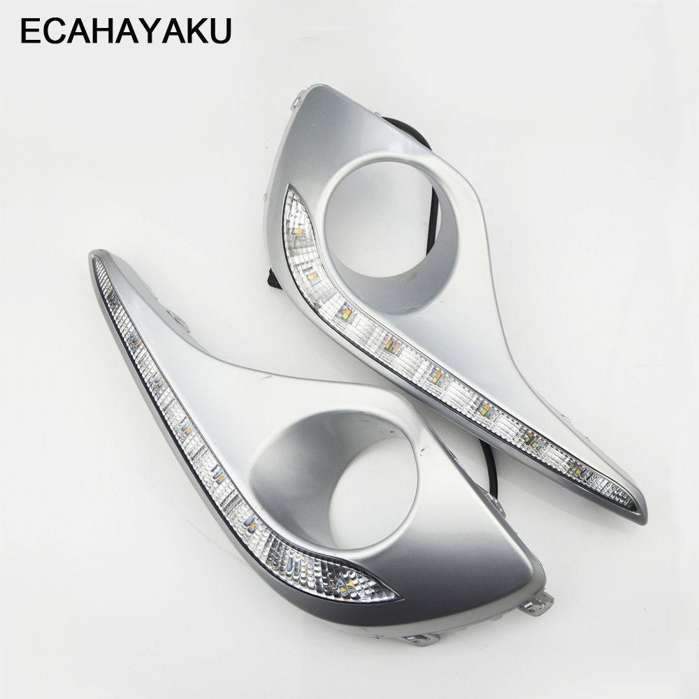 ECAHAYAKU 12V a mené la lumière du jour DRL pour la lumière courante de jour de voiture de Toyota Highlander 2012 2013 remplaçant le cadre de lampe de brouillard