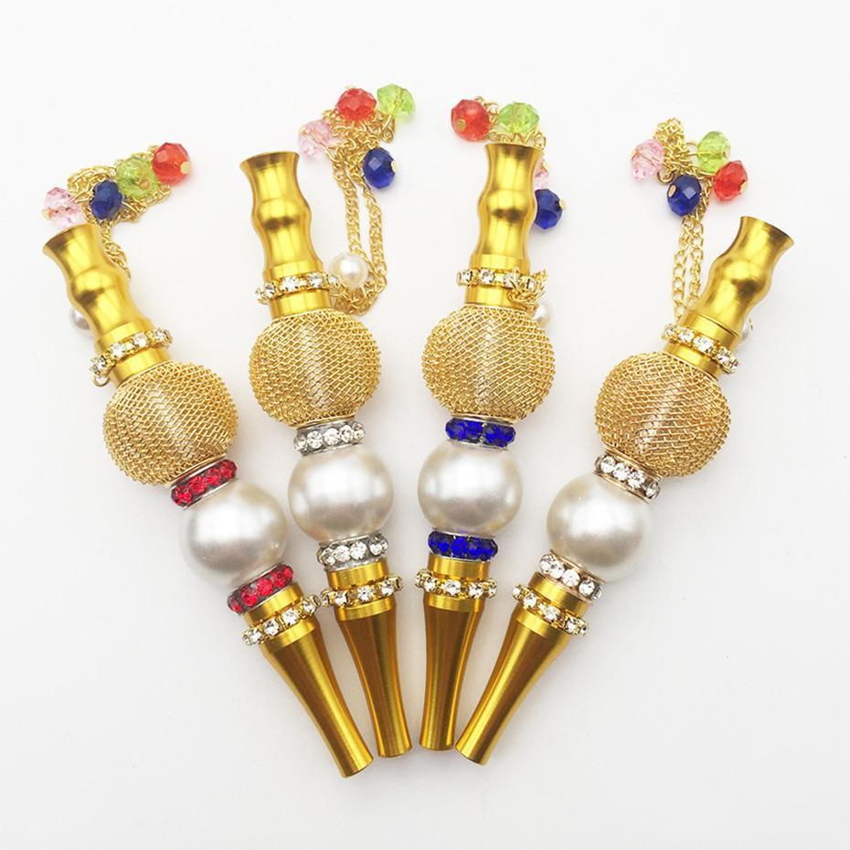 Em estoque New Handmade Hookah Boca Dicas Metal Diamante HookAh Bocalh Pingente Colorido Shisha Buceta Dica Acessórios para fumar