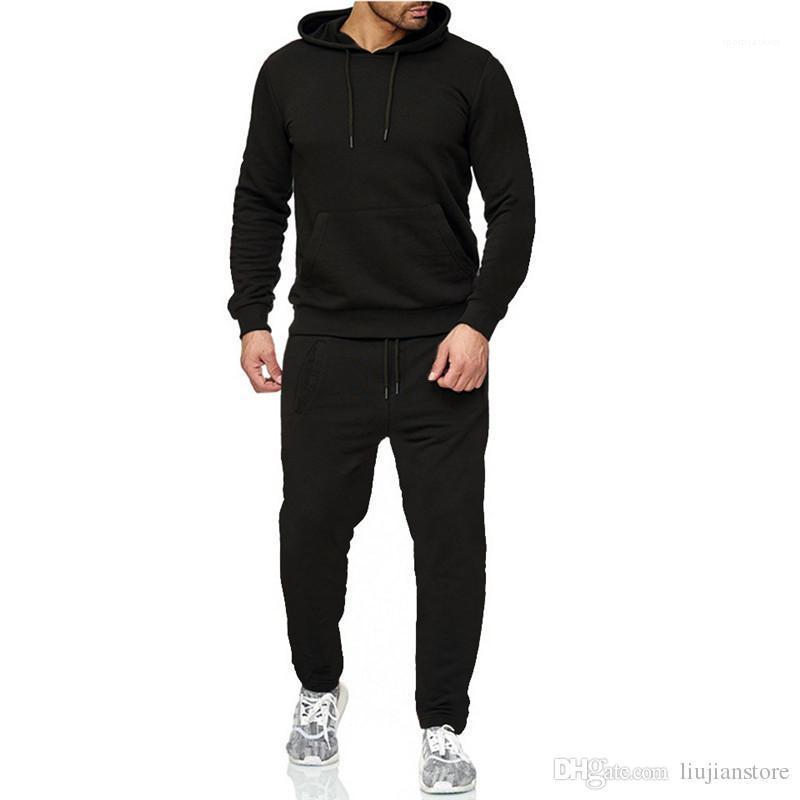 Survêtements à capuche Printemps Automne Sport en vrac Hommes 2PCS Sets Homme Vêtements Course Pure Color Costumes Hommes Designer Mode Hommes