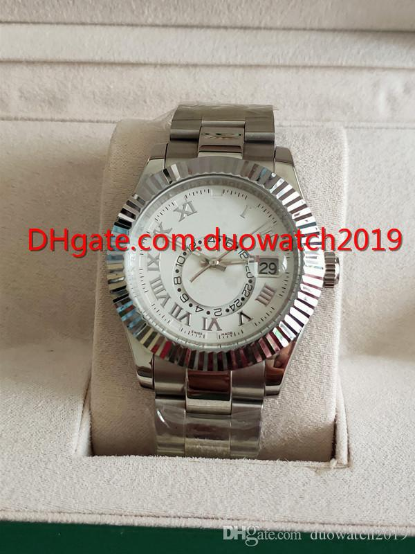 De calidad superior 42mm hombres números romanos esfera blanca Relojes de pulsera de zafiro de cristal 326939 Asia automático mecánico para hombre cielo relojes
