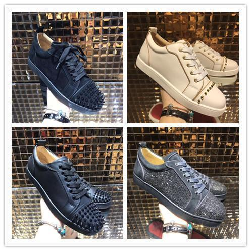 promo code 06cdc 9e264 Low Top Red Bottom Sneakers For Men Luxury Louboutin Black Leather Fashion  Casual Mens Womens Shoes Designer Causal Shoes Wholesale Italian Shoes Cute  ...