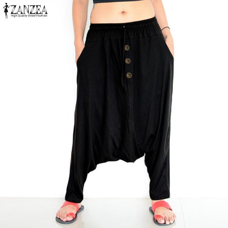 ZANZEA Женщины Повседневная Эластичный пояс Брюки 2019 повелительниц способа Сыпучие Карманы длинные брюки Крупногабаритные Низ Streetwear Sweatpants