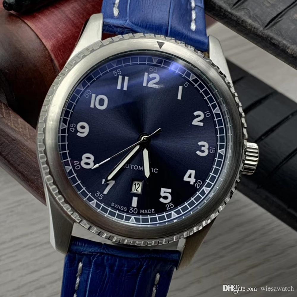 AVIATOR 8 Classique et Vintage Hommes Montres Cadran automatique lumineux bleu 46MM Diamètre date Montre Bleu Montres-bracelets en cuir Band