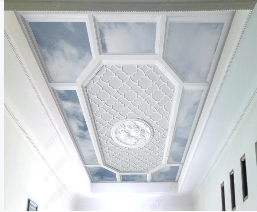murales del techo del papel pintado 3D 3D europea pared blanca de fondo techo tallado