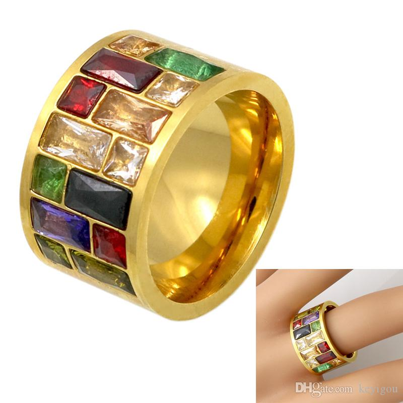 New Arrivals Crystal Ring For Women Anel 316L Stainless Steel Female Rainbow Color Stone Ring Fashion Jewelry