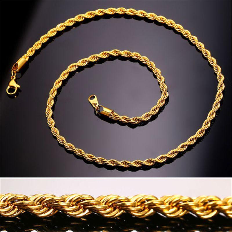 Collar de gargantilla de Hip Hop 18K chapado en oro de acero inoxidable 3 MM cadena de cuerda torcida de las mujeres para los hombres Hiphop joyería regalo a granel