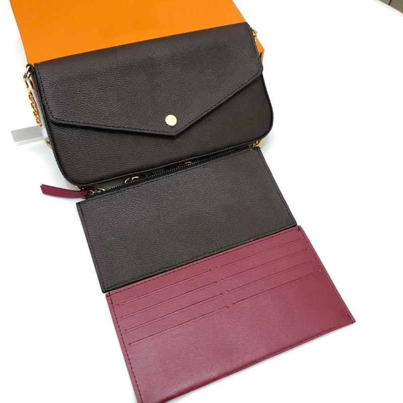 Classic Imint Flowe Handbags Bolsas Brown Grade Corrente destacável 3 em 1 telefone móvel Água Ripple Crossbody Sacos Branco Grade Carteira