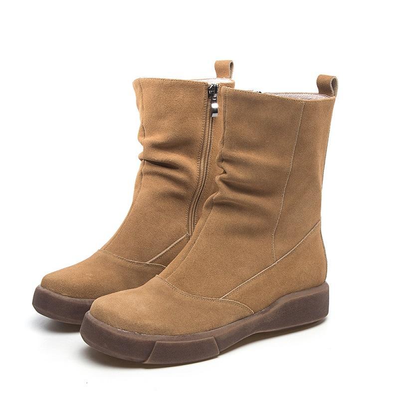 Açık İlkbahar Sonbahar Kadınlar Gerçek Deri Yarım Binicilik Boots Kış Bayanlar Peluş Pileli Orta Buzağı Boots 191.217 katlayın
