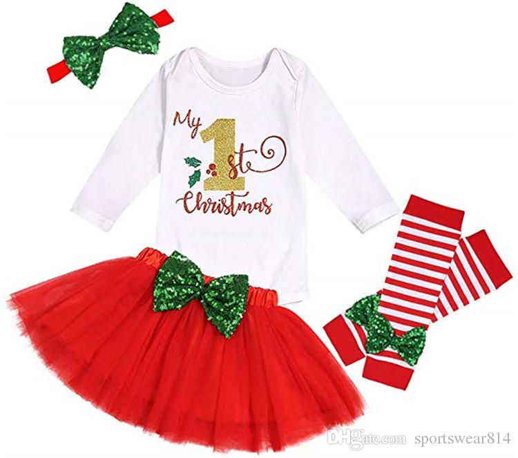 Bebê My 1st Christmas Outfit roupa da menina Romper Bodysuit saia tutu Legging com headband Outono meninas roupas de inverno Set Jumpsuit