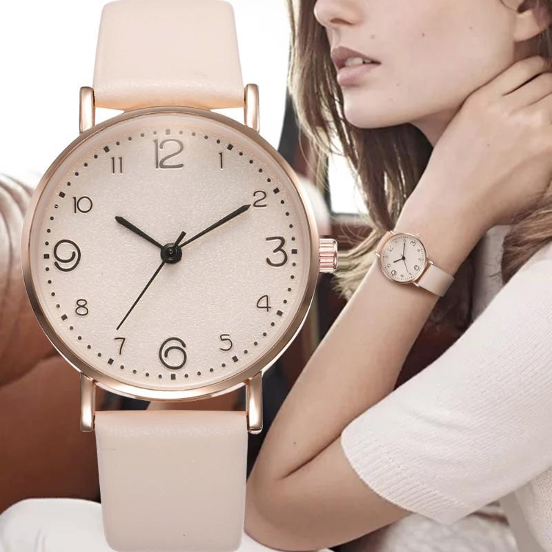 Top Style Fashion Women's Leather Band Analog Quartz WristWatch Golden Ladies Watch Women Dress Black Clock