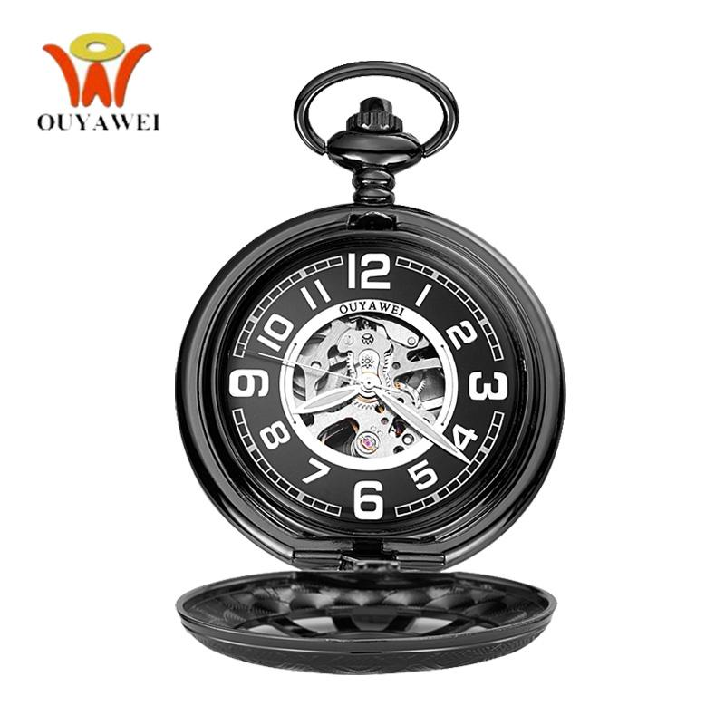 wholesale Vintage Steampunk Watches Men Mechanical Antique Skeleton Cover Transparent Pocket Watch Black Chain Anniversary Gift