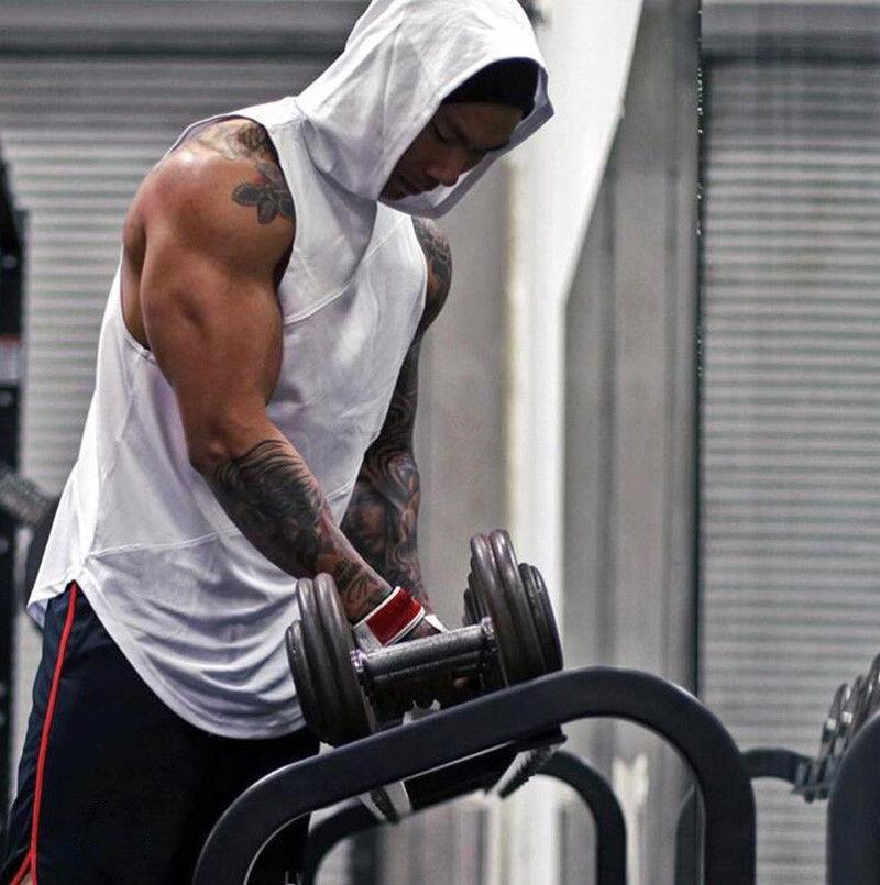 남성 체육관 의류 보디 빌딩 스트링거 까마귀 탱크는 근육 후드 셔츠 조끼 탑