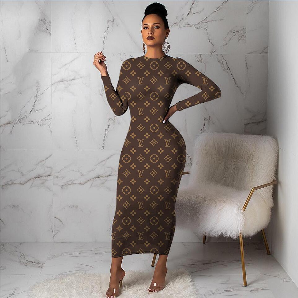 elbise Avrupa ve Amerika moda Kadın giyim Toptan tüm vücut mektup Uzun kollu elbise Boş İnce Seksi Uzun yeni stil etek sığdırmak