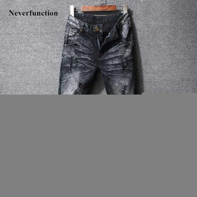 Высокое качество снега серый мыть Мужчины хип-хоп SWAG Отверстия Узкие джинсы мужские рваные разрушаемый Homme Jogger Denim брюки плюс размер 40