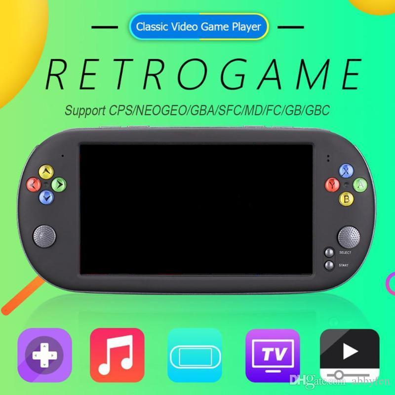 X16 16GB 7 بوصة حدة تحكم لعبة المحمولة المحمولة 8GB الكلاسيكية لعبة فيديو لاعب لعبة العاب محمول اللاعبين