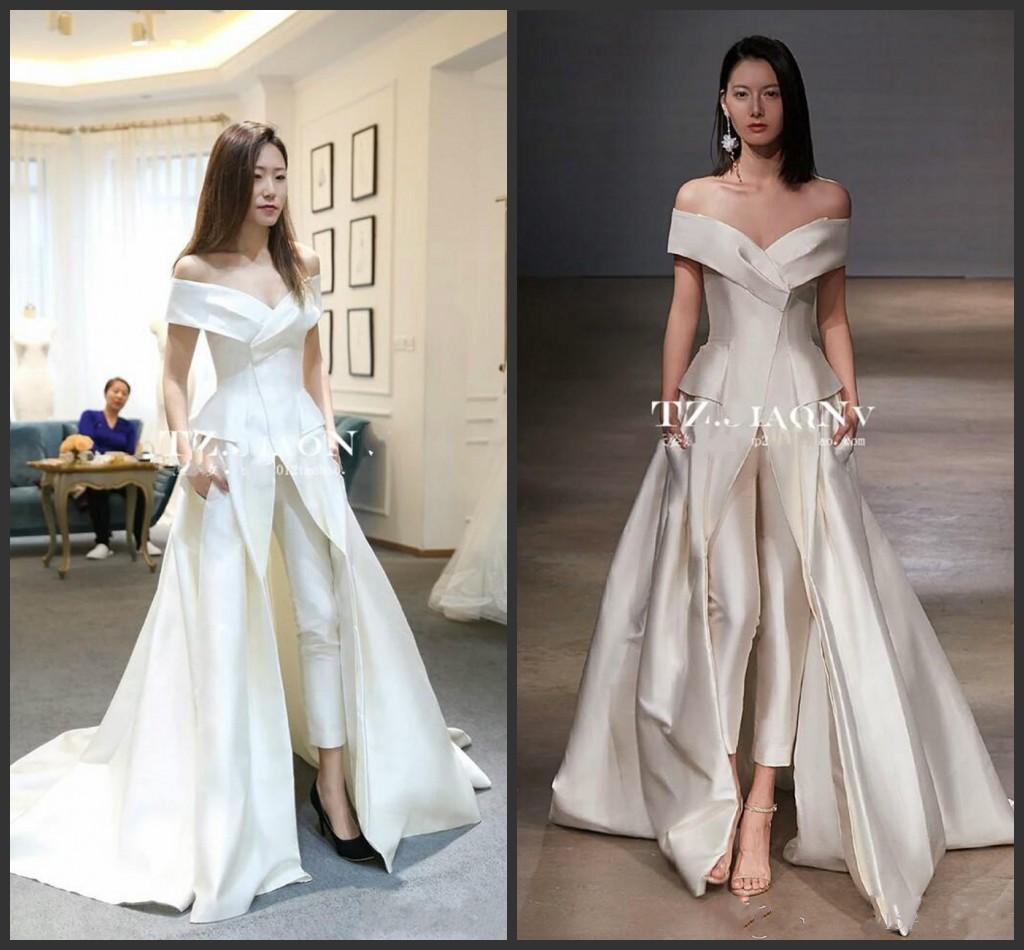 2019 Novas Mulheres Vestidos Macacão Com Trem Longo Branco Vestidos de Noite Fora Do Ombro Sweep Train Elegante Zuhair Murad Vestido Vestidos Festa