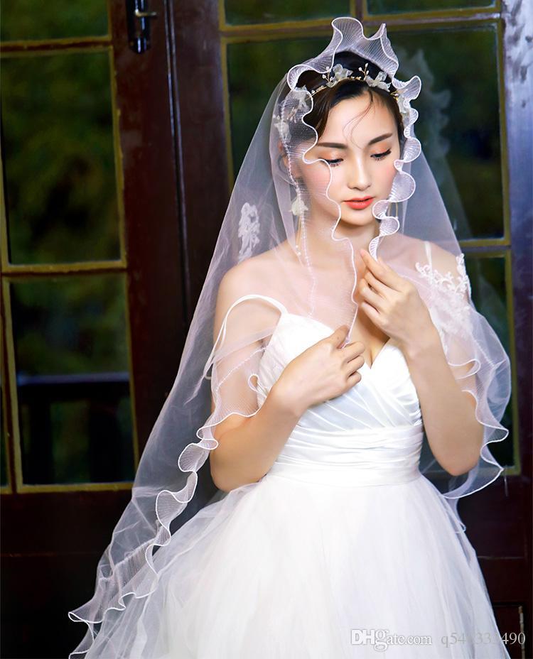 bride Korean veil super fairy white lotus leaf embroidered temperament simple beautiful seaside travel head jewelry