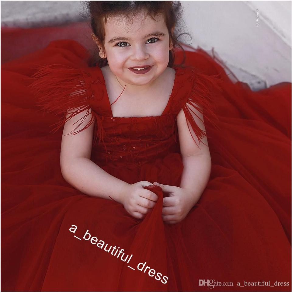 Red Feather Toddler Girls Pageant Dresses Sequined Square Neck Ball Gown Flower Girl Dress Floor Length Tulle Princess Kid Prom Gowns FG1288