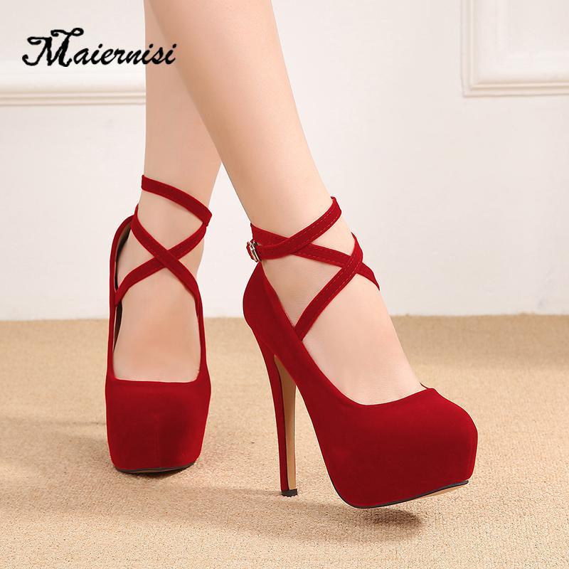 MAIERNISI nova moda Bombas tamanho Mulheres Flock Marca Plataforma Além disso sapatos de salto alto boate Ladies 14cm calcanhar de luxo sapatos T200525