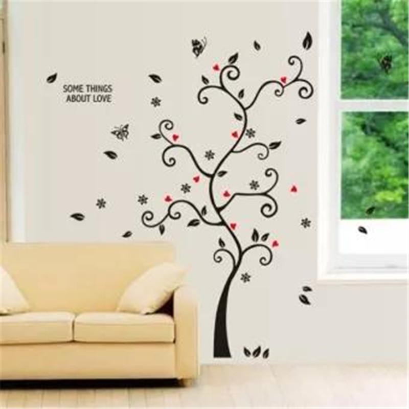 شيك الأسود إطار الصورة شجرة زهرة جدارية الجدار ملصق ديكور غرفة الشارات - تي