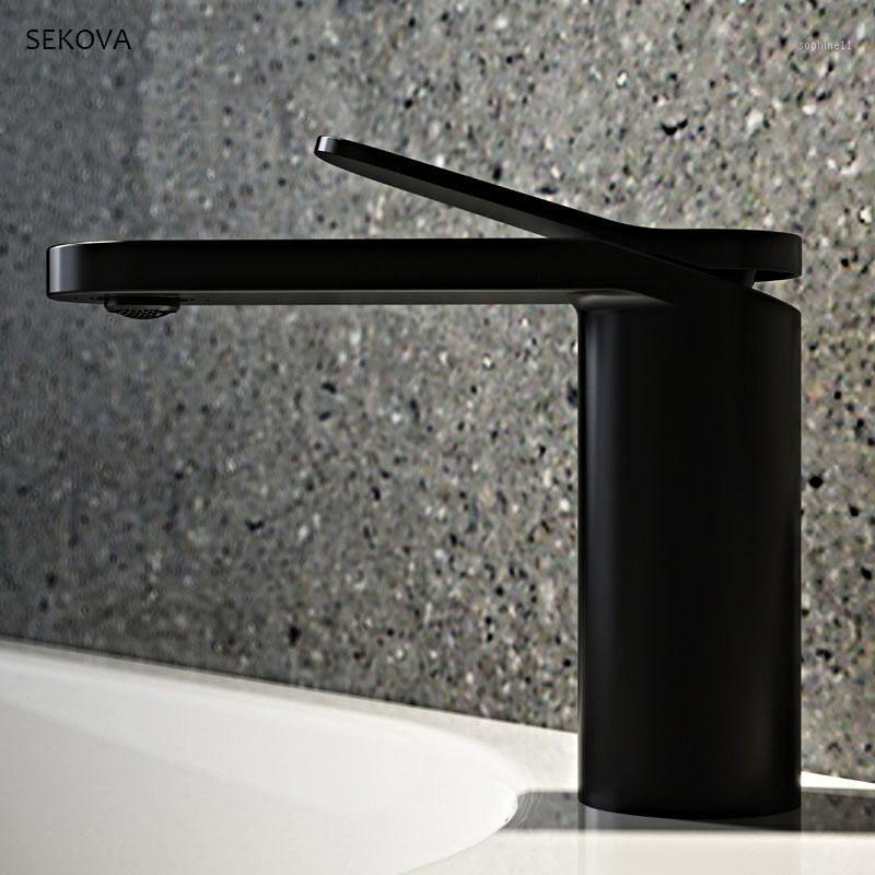 Messing verchromt Schwarz Weiß Farbe kalter und heißer Bassin-Hahn-einzelnes Loch-Deck montiert Waschbecken Mixer Wasser Tap1