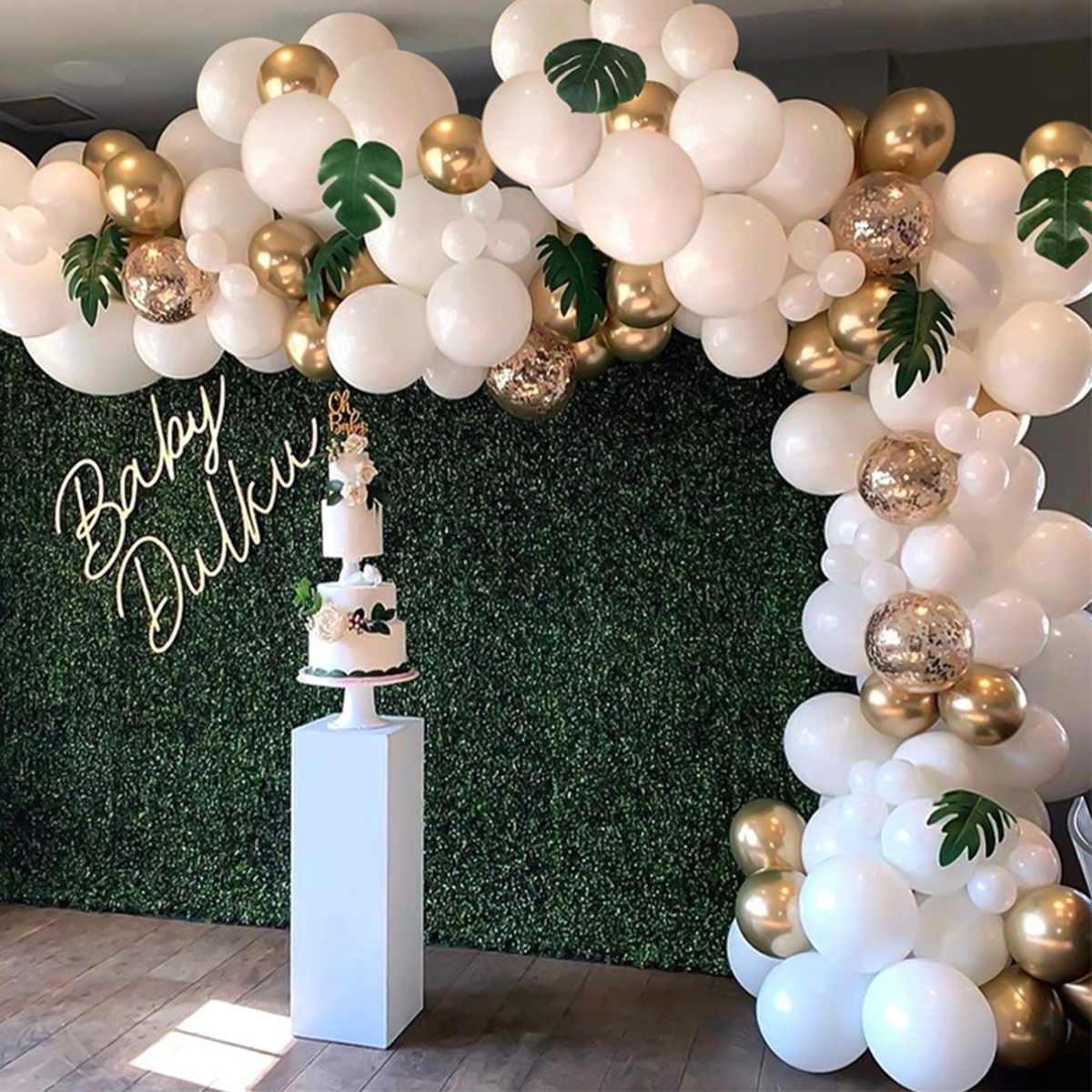 100pcs / Set Arche Jungle Party Tropical Thème Safari Ballon Latex Forêt Ballon Garland Set anniversaire douche hawaïenne Party Décor T200624