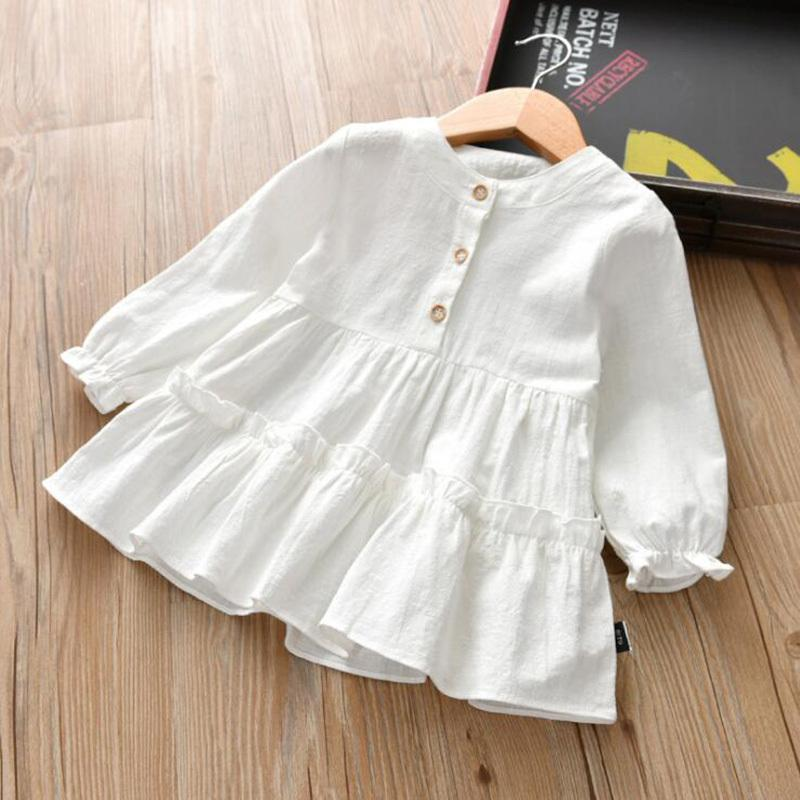 2-8T Niña Niña Ropa Blusas Niños Primavera Otoño Manga larga Camisa dulce para niñas niños moda camisa blanca ropa Y200704