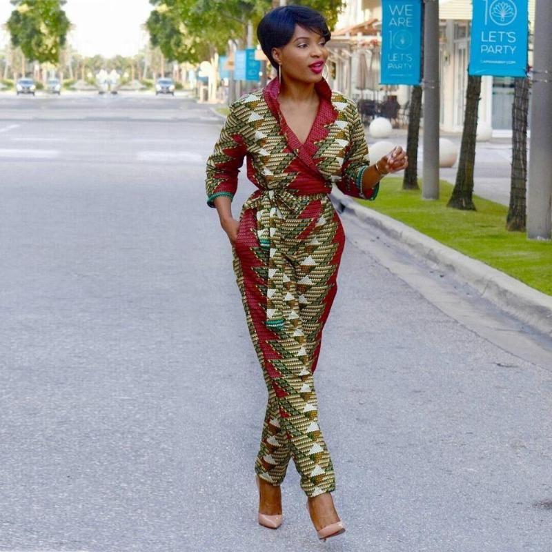 sexy Robe africaine 2020 neue afrikanische Kleider für Frauen Schulter weg Art und Weise V-Ausschnitt Overall und Damen Kleidung dashiki Druck