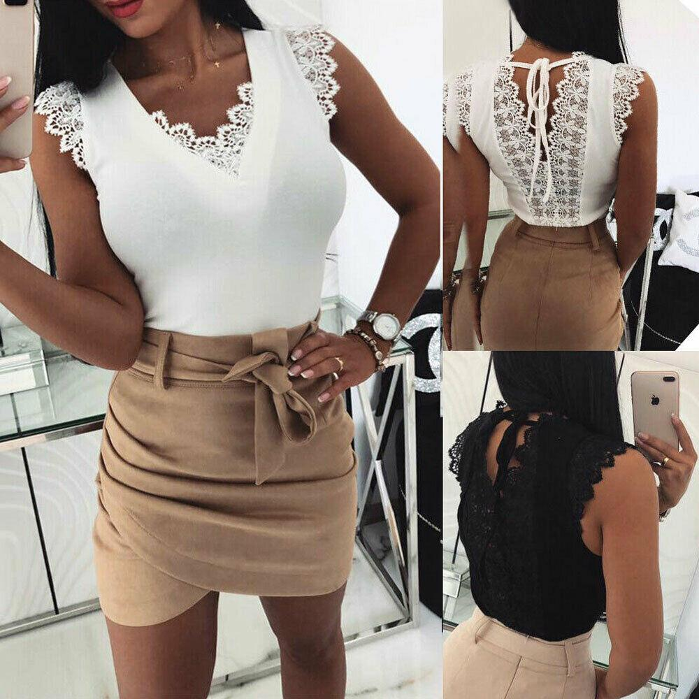 Lot Women Lady Summer Lace Vest Top Sleeveless Casual Tank T-Shirt Blouse Tops