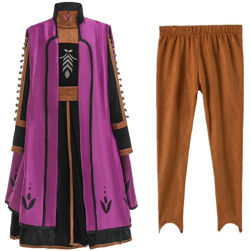 Fancy Snow Queen 2 principessa Dress + Coat + Pants 3pcs / set costume cosplay per le ragazze che coprono insieme Inverno Natale Fiaba Frcoks M1212