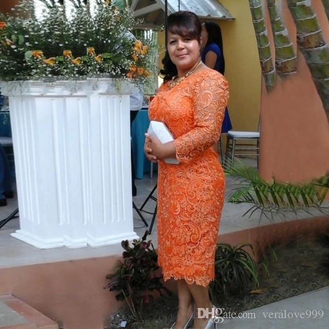 Orange Lace Sheath Mother Dress Custom 2019 New Plus Size Long Sleeve Tea Length Mother Of The Bride Dresses Women Prom Gowns