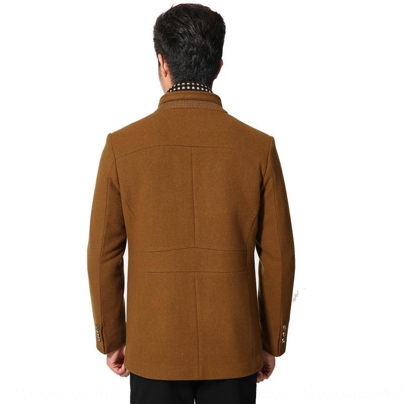 Outono e Inverno novo de comprimento médio estande magros ocasionais dos homens de colarinho blusão blusão casaco de lã de lã casaco de lã