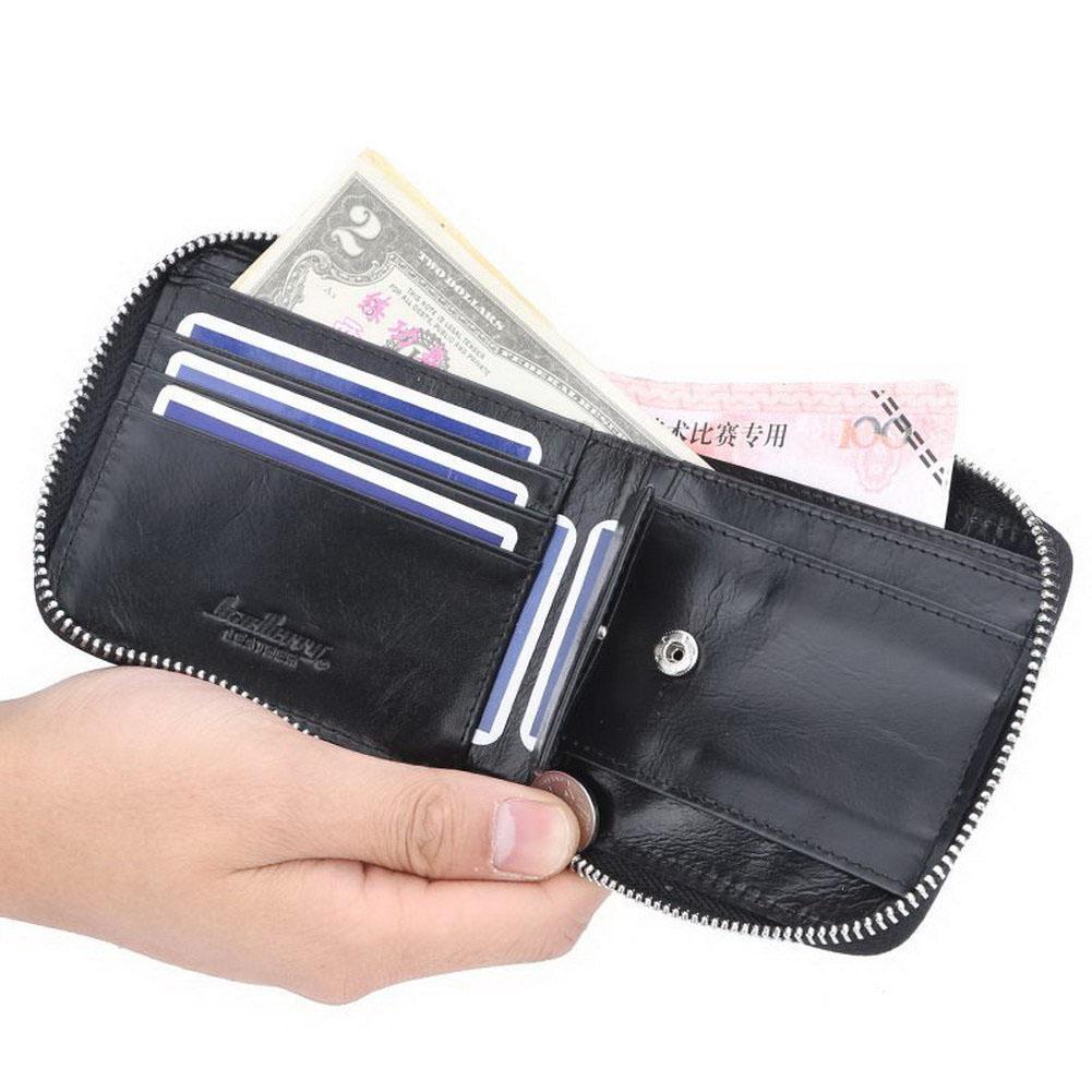 Fashion Men/'s Leather Zipper Wallet Around Wallet Bifold Multi Card Holder Purse