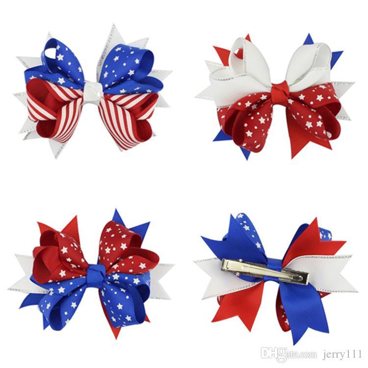 3 styles American flag print Barrettes Bow hair clips Swallowtail hairpins Hair bows Clip kids Hair Accessories DHL JY268