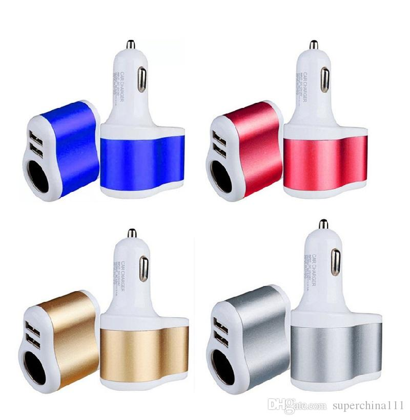 Universal Auto 3.1A Dual USB Car Charger One Way Car Cigarette Lighter Socket Adapter Charger for SAMSUNG Mp3 Mp4 Gps