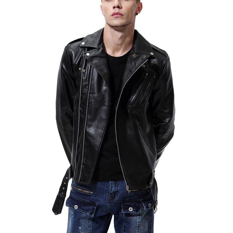 2019 Autunno New Style Large Size Giacca Occident moda maschile portare lavaggio in pelle Locomotiva PU cappotto Y105
