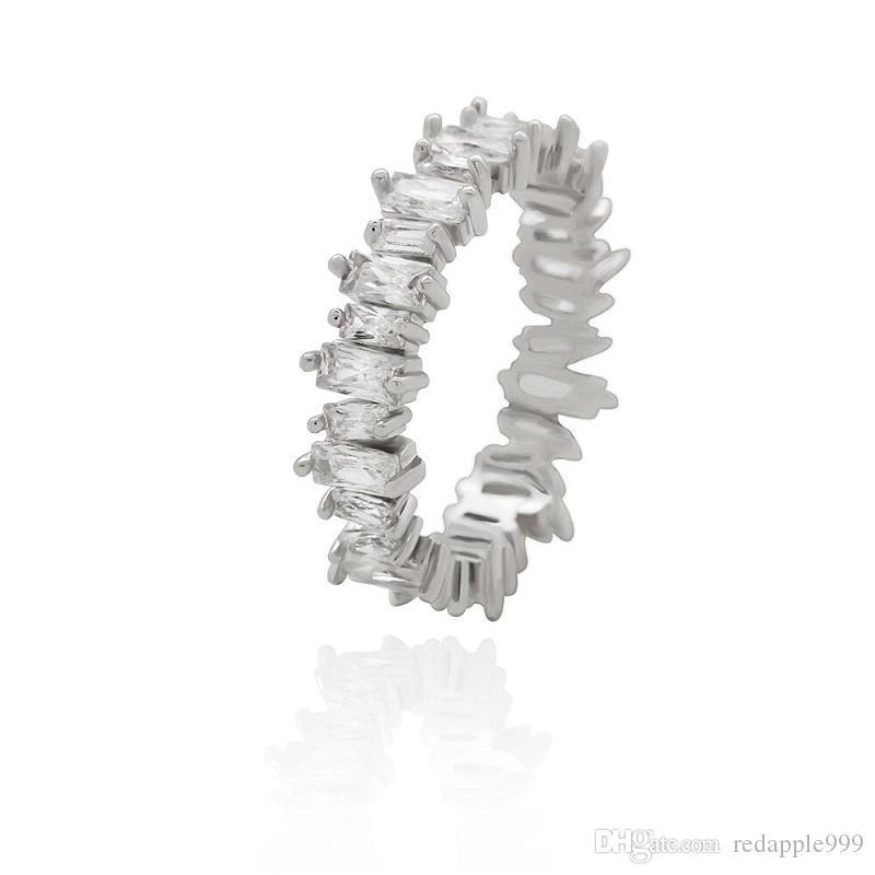 теннис алмазы кольца для женщин роскоши алмазных кристаллических кольцами S925 серебра гальванических медных цирконов ювелирных изделий