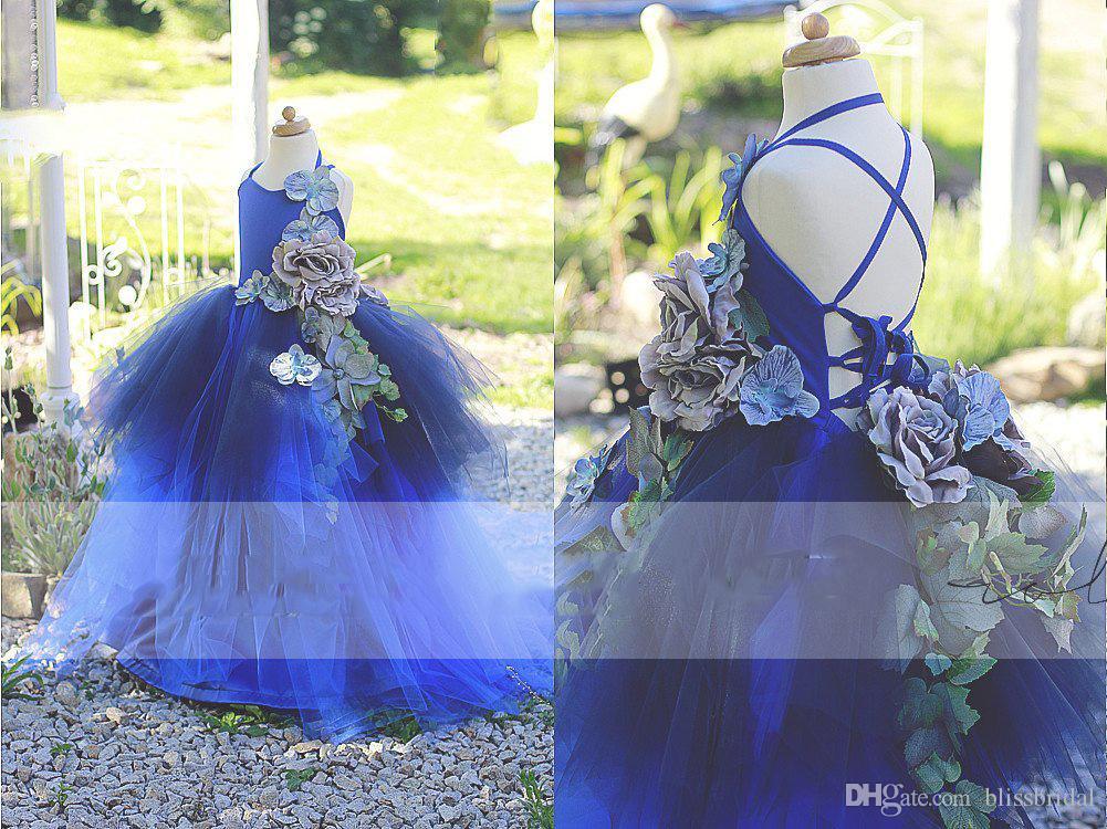 Rayal Blue Flower Girl's Wedding Dresses Criss Cross Straps Tiered Tutu Girl's Formal Wear Handmade Flowers Applique Girl's Pageant Dresses