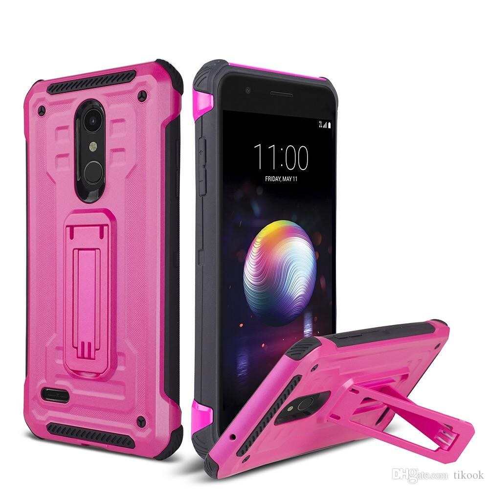 Shockproof Heavy Duty Non Slip Combo Hybrid Rugged Cover with Kickstand Case for ZTE N9137/Tempo X/Avid 4/N9517/Z965/Z982/Coolpad Revvl Plus