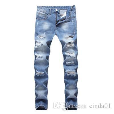 Fashion Wash Broken Holes Jeans Slim Fit Male Demin Straight Pants Men High Street Wear Big Yard 42