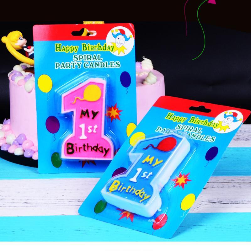 Şanslı Pembe Dev Büyük Mum Numarası 1 doğdun pastası çocuklar 1. doğum günü onun bir kız Yaş Mum Bebek Parti Malzemeleri