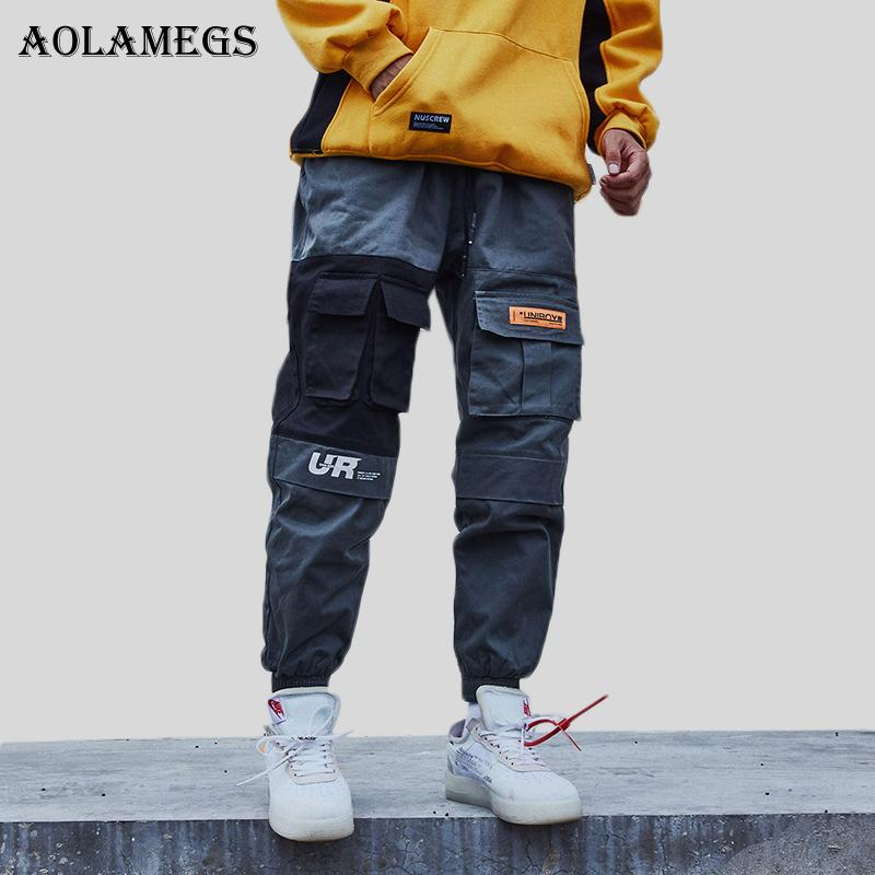 Aolamegs Cargo Pants Men Block Patchwork Track Pants High Street Hip Hop Multi-Pockets Joggers Trousers Sweatpants Streetwear