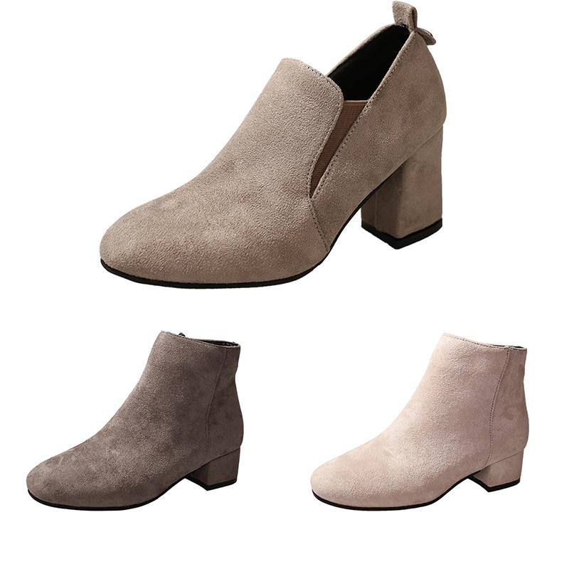 2020 Square head suede Martin boots women chunky heel ankle boots side low womens boots