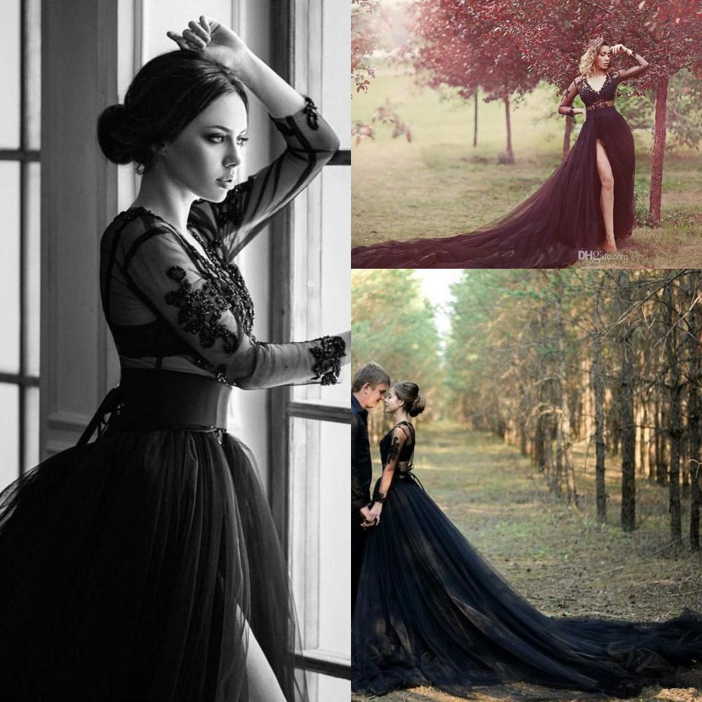 Black Gothic V Neck Tulle A Line Boho Wedding Dresses 2020 Sheer Long Sleeves Tull Lace Applique Beaded Split Bridal Gowns BC4103