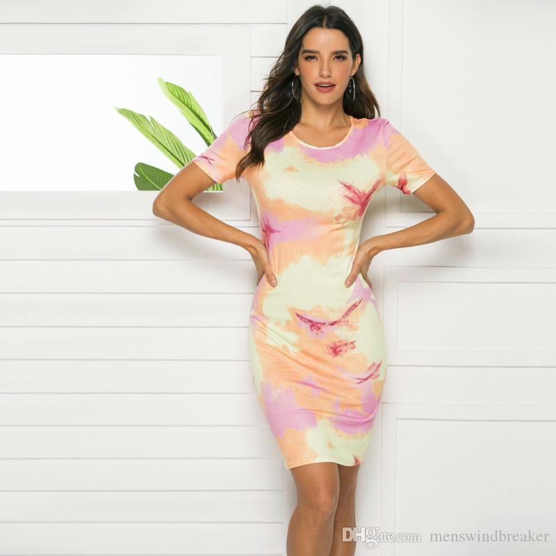 Druck-Sommer-weibliche Kleid-Frauen mit Rundhalsausschnitt kurze Hülsen-feste Kleider beiläufige Damen Urlaub sexy Kleidung
