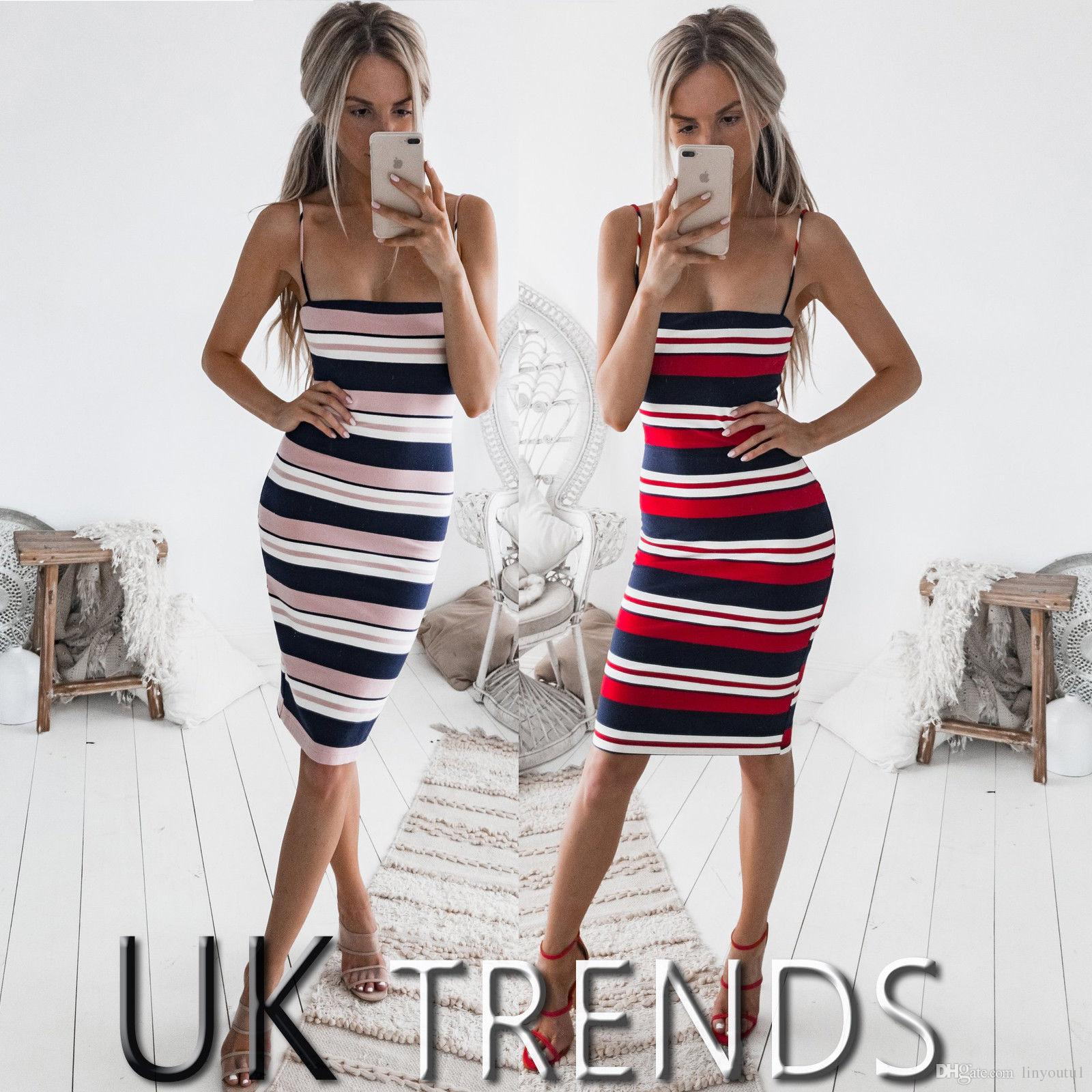 COLROVIE Color Block Striped Cami Summer Dress 2019 New Spaghetti Strap Girls Bodycon Mini Dress Multicolor Casual Women Dress